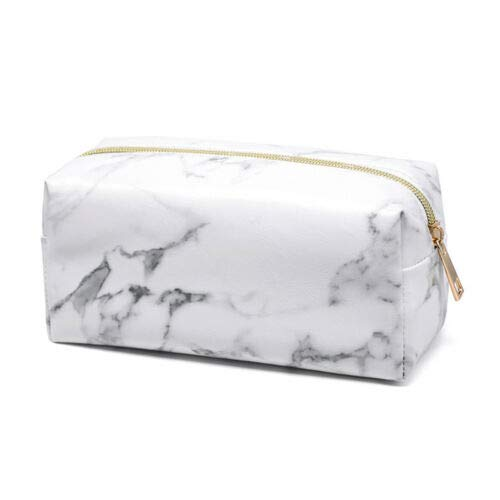 Student Purse Travel Pencil Stationery Marble Makeup Bag Toiletry Storage Case (Size - Light Gold)