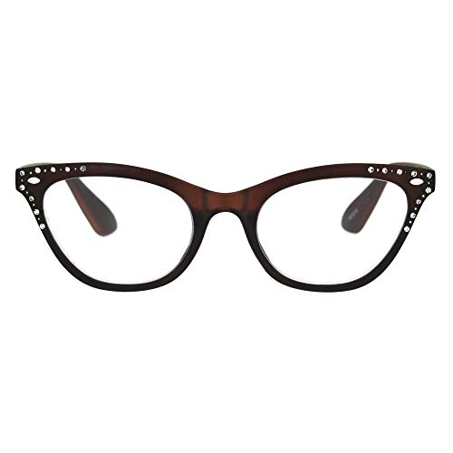 Womens Bling Rhinestone Plastic Cat Eye Horn Rim Powered Reading Glasses Brown 1.5 (Brown Glasses Rhinestone Reading)