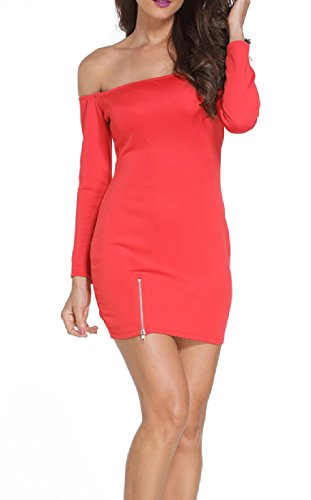 IF FEEL Women's Sexy Off-shoulder Slim Bodycon Cocktail Evening Party Mini Dress - Red Size S