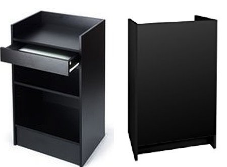 Black Cash Register Stand, Adjustable Shelf, Drawer, 24''W X 38''H X 18''D (Black Melamine) by Only Garment Racks