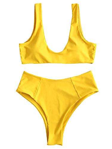 ZAFUL Womens High Cut Wire Free Scoop Padded Side Boning Bikini Set Two Pieces Swimsuit,(Golden Brown,L)