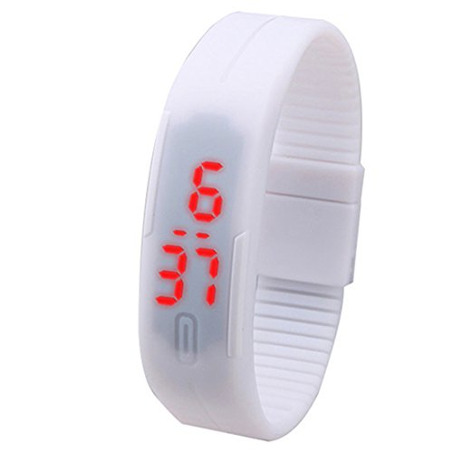 Men's Women's Sports Silicone Bracelet Touch LED Digital Wrist Watch - White