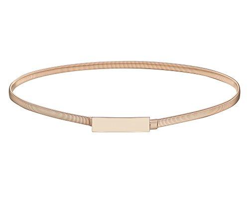 "BABEYOND Metal Waistband Skinny Belt Elastic Waist Strap Stretchy Belt for Dress (Style-1-gold, Medium (27.6""-31.5""))"
