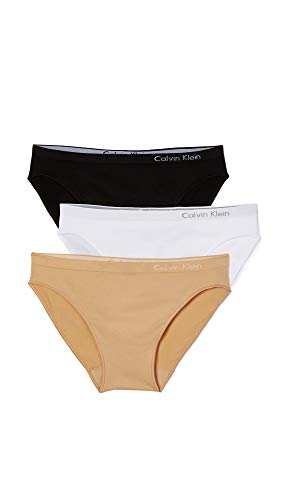 Calvin Klein Underwear Women's Pure Seamless 3 Pack Bikini Briefs, Black/White/Bare, Medium