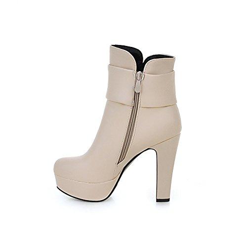 Zip Lucksender Boots Beige Platform Heel High Bow Womens Rhinestone Short 1wWqwxOvB5