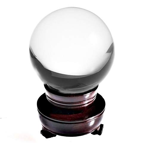 Amlong Crystal 8 inch (200mm) Clear Crystal Ball Including Wooden Stand and Gift Package