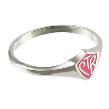 LDS Womens 0.925 Sterling Silver Pink Mini CTR Choose the Right Ring for Girls - LDS Rings, Womens CTR Rings, Girls CTR Rings ()