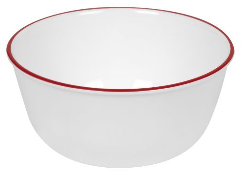 Red Soup Plate - Corelle Livingware 28-Ounce Super Soup/Cereal Bowl, Red Band (3 Bowls)