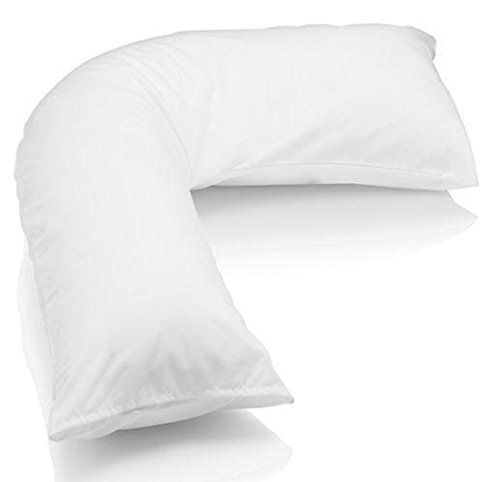 [PRICEBUST] WHITE V SHAPED 100% EGYPTIAN COTTON 200TC THREAD COUNT PILLOWCASE BACK & NECK SUPPORT, MATERNITY, ORTHOPEDIC, V COVER ONLY PB