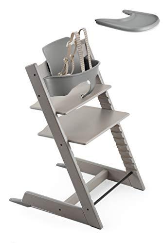 (Stokke 2019 Tripp Trapp Oak Greywash High Chair & Storm Grey Tray)