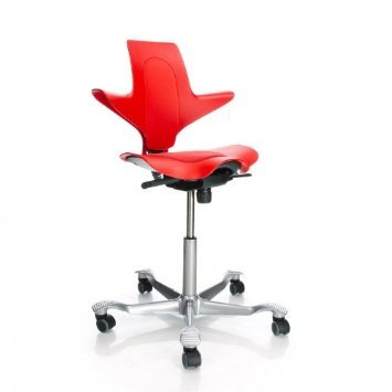 Hag Capisco Chair Puls 8010 Silver Lacquered Frame - Red Seat