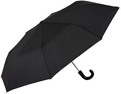 GOTTA Paraguas Plegable de Hombre, automático con puño Curvo de plástico. Tejido Negro. - Negro