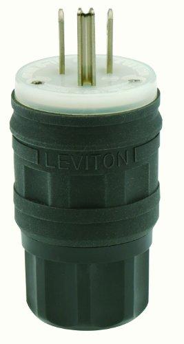 - Leviton 14W47-B 15 Amp, 125 Volt, Straight Blade, Plug, Industrial Grade, Grounding, Wetguard, Black
