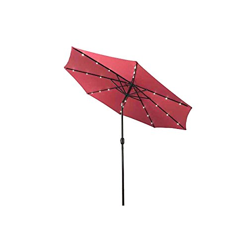ALEKO UMB10L24BG Solar Powered LED Lighted Outdoor Patio Table Umbrella Waterproof Polyester with Tilt Adjustment 8 x 10 Feet Burgundy