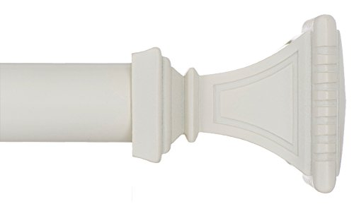 Square Finials - Ivilon Treatment Window Curtain Rod - Carved Square Finials, 1 1/8 in Rod, 72 to 144 in. White/Ivory