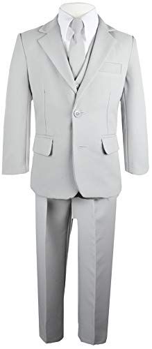Black n Bianco Big Boys Solid Suit and Tie (10, Grey)
