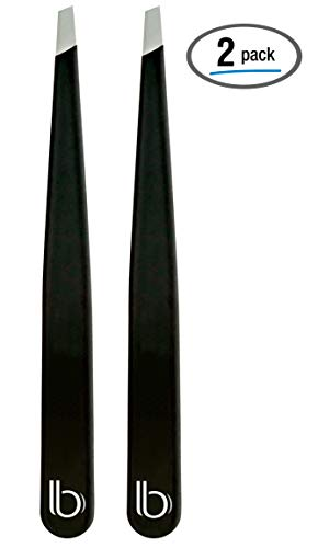 Professional Grade Stainless Steel Slant Tip Tweezers by Better Beauty Products, 2 Pack, Matte Black