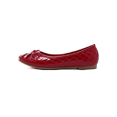 Toe Shoes Bowknot Walking Round Women Slip Flats Red Loafers Casual CYBLING On for nqv0OxEww