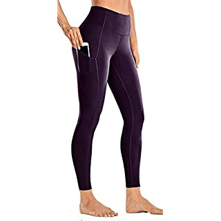 Yoga Pants with Pocket for Women High Waisted Workout Leggings Soft Tummy Control Joggers Capri Leggings (X-Small, Dark Purple)