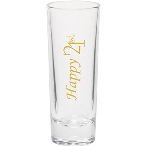 Drink Up. 21st 2 oz. Shooter Shot glass Birthday Gift Part Twenty One with Breathalyzer (Gold)