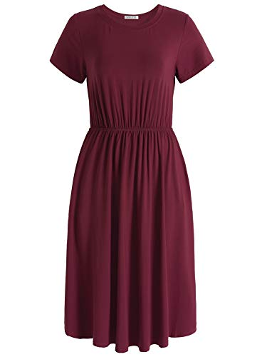 Dress Shirred Knit (Weintee Women's Shirred Waist Midi Dress with Pockets S Wine Red)