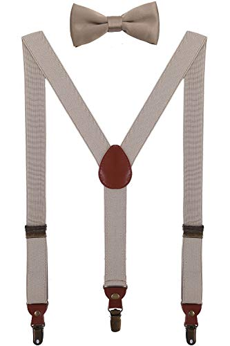 BODY STRENTH Kids Suspenders and Bow Tie Set Y Shape Adjustable for Wedding 30'' Khaki