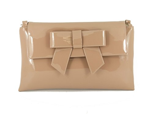 Patent Leather Wristlet Clutch - LONI Womens Clutch Bag Shoulder Bag Wristlet in Patent Faux Leather in Nude Taupe