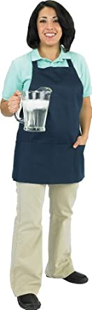 "Chef Revival 602BAFH Poly Cotton ""Front of the House"" Professional Bib Apron with 3 Compartment Front Pocket, 25 by 28-Inch, Burgundy"