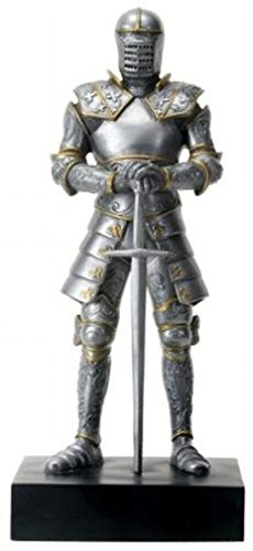 - YesKela Silver Colored Italian Knight Design Standing Statue in Full Armor