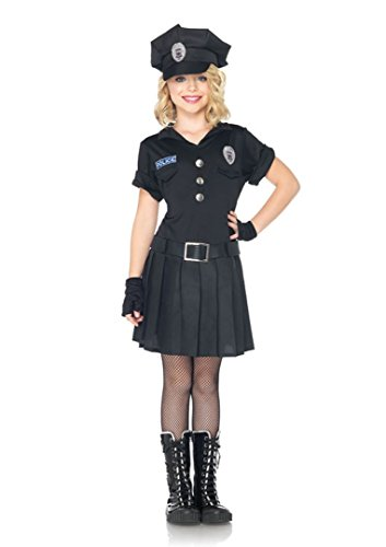 Pc Police Costume (3 PC. Girls' Playtime Police Dress - 7-10 - Black)