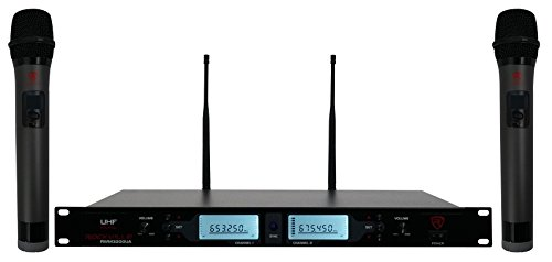 Rockville RWM3200UA 200 Channel UHF Wireless Dual HandHeld Microphone System by Rockville
