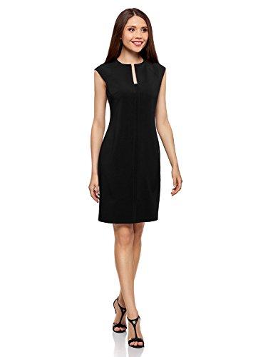 oodji Collection Mujer Vestido de Tubo con Escote Decorativo Negro (2900N)