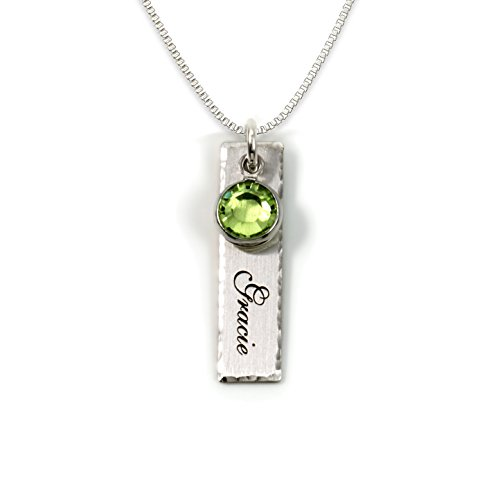 (Single Edge-Hammered Personalized Charm Necklace. Customize a Sterling Silver Rectangular Pendant with Name of Your Choice. Choose a Swarovski Birthstones, and 925 Chain. Makes Gifts for)