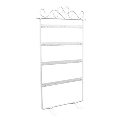 Belly Display Jewelry (DDLBiz 48 Hole Earrings Jewelry Display Rack Metal Stand Holder Showcase (White))