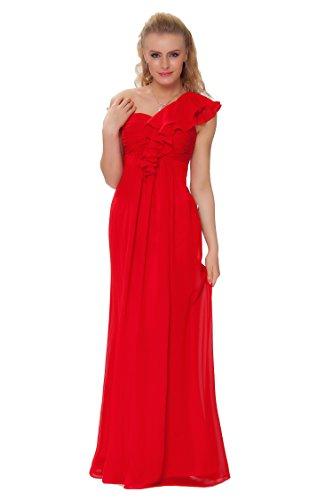 SEXYHER Gorgeous Encuadre de cuerpo entero Uno damas de honor del hombro vestido de noche formal - EDJ1443 Rojo