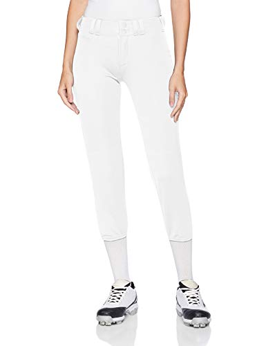 Alleson Ahtletic Women's Fast Pitch Softball Belt Loop Pants, White, ()
