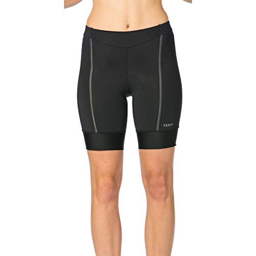 Terry Women's Bella Prima Cycling Padded Compression Short Designed for Comfort - Black/Charcoal - Small