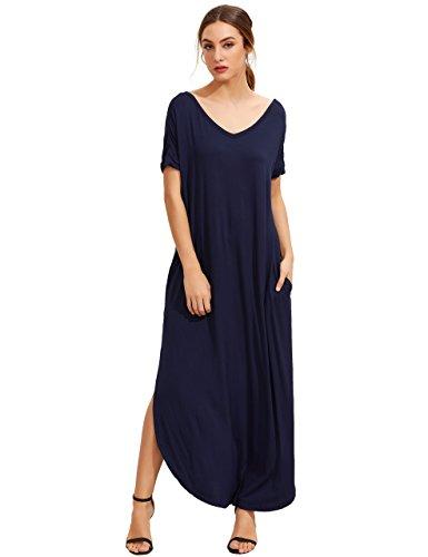 MAKEMECHIC Women's Casual Loose Pocket Long Dress Short Sleeve Split Maxi Dress Navy S