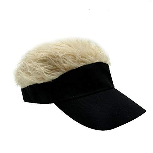 Kafeimali Men's Novelty Adjustable Visor Wig Skull