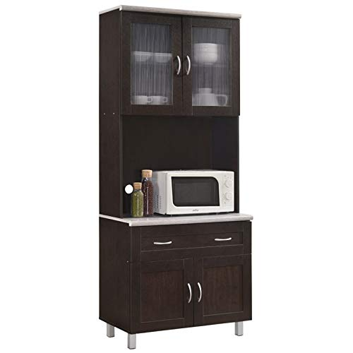 Pemberly Row Tall 32'' Wide China Kitchen Cabinet with Microwave Storage in Chocolate Gray by Pemberly Row