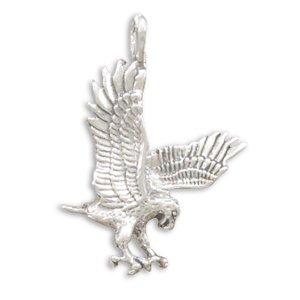 925 Sterling Silver Oxidized Landing Eagle (Oxidized Eagle)