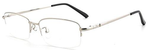 Titanium Semi Rimless Eyeglasses - JNS Titanium Semi-rimless Flexible Rimless Frame Prescription Eyeglasses Frame Clear Lens (Silver)