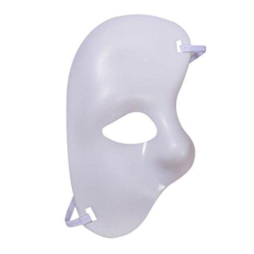 Half Mask Venetian Phantom Of The Opera Musical Masquerade Mask (White)