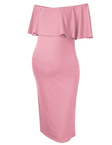MissQee Women's Maternity Dress Off Shoulder Casual Maxi Dress (M, Pink)