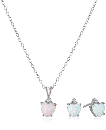 Sterling Silver Stud Earrings and Pendant Necklace with Created Opal Jewelry Set by Amazon Collection