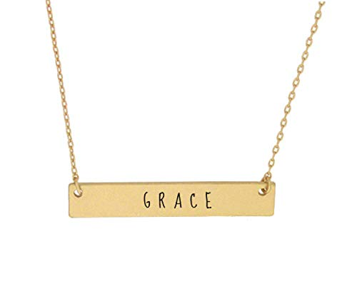 OhBooBa Inspirational Quote Horizontal Engraved Bar Pendant Necklace (Grace-Gold) ()