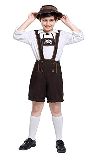 yolsun Lederhosen Costume for Kids, Boys' Oktoberfest Role Play, German Dresses for Oktoberfest (L(Suggested Height:56