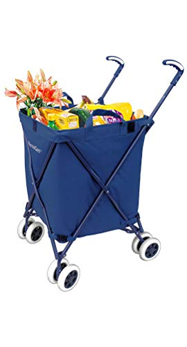 The Original VersaCart Transit Folding Shopping and Utility Cart, Water-Resistant Heavy-Duty Canvas with Cover, Double Front Swivel Wheels, Compact Folding, Transport Up To 120 Pounds, Blue