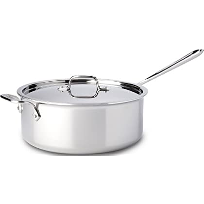 Image of All-Clad 4206 Stainless Steel Tri-Ply Bonded Dishwasher Safe Deep Saute Pan with Lid / Cookware, 6-Quart, Silver Home and Kitchen