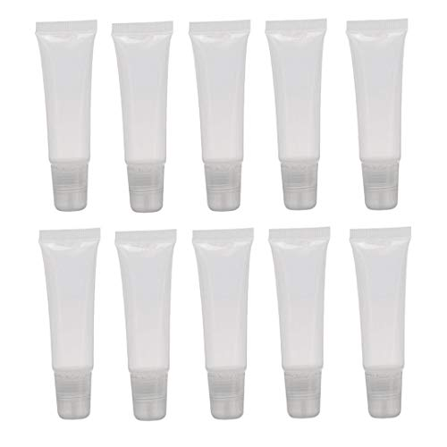 10PCS 15ml/0.5oz Clear Plastic Soft Tubes Squeezable Bottle Lip Gloss Balm Tube Makeup Cosmetic Container Sample Packing DIY Beauty Tool for Lip Balm Glaze Ointment Hand Cream (E45 Cream For Dry Skin On Face)